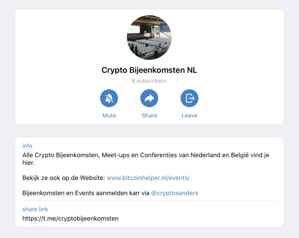 Telegram Cryptocurrencybijeenkomsten